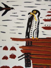 Trevor Turbo Brown Peregrine Falcon Australian Aboriginal Art Painting on canvas TB1619